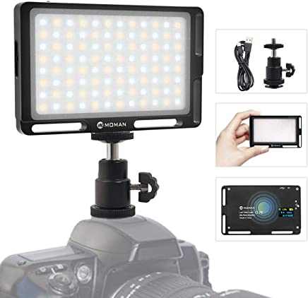 On Camera Light, Moman Magnetic 96 LED Video Lighting, CRI96+ Brightness and Bi-Color 3500K to 5700K Dimmable, 1cm Ultra Thin, Full Aluminum, Color Black