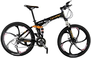 Extrbici Mountain Bike Bicycle Folding 17x26 Inch Wheel 24 Speeds Full Suspension,FR100 Bycicle Mechanical Disc Brakes Shimano Aluminum Frame M310 Gears