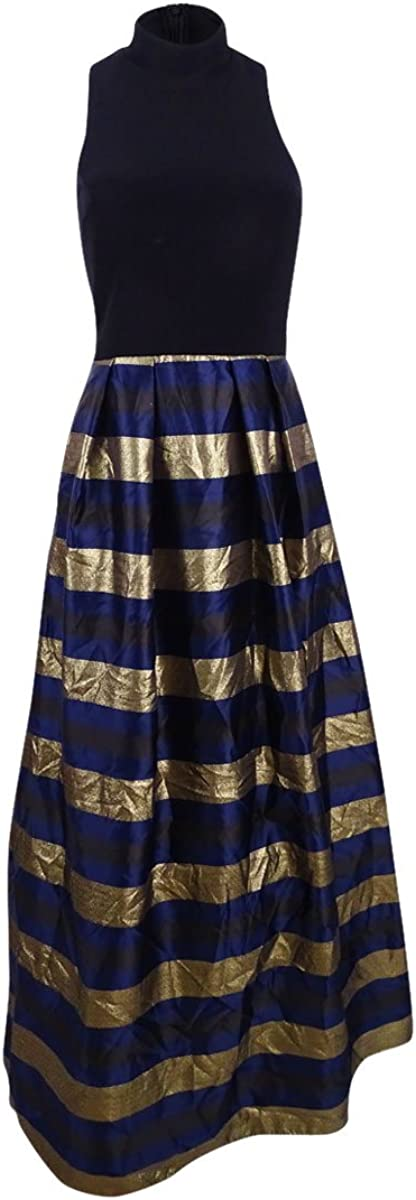 Xscape Women's Striped Mock-Neck Racerback Gown