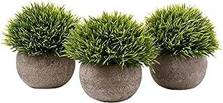 Maikouhai Artificial Green Fake Grass Bonsai Art Plant with Gray Pot(Set of 3, 12.5cm)
