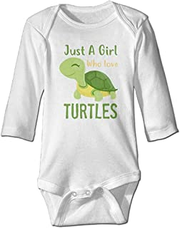 Sponsored Ad - Just A Girl Who Love Turtles Cute Bodysuit Rompers for Infant Unisex Baby Long Sleeve