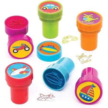 Baker Ross véhicules avec encre intégrée (lot de 10) -Ensemble de tampons que les enfants pourront utiliser lors de leurs loisirs créatifs, AW720, Coloris Assortis