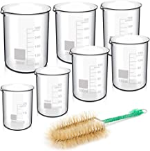 Thick Glass Beaker, YGDZ 7 Sizes Graduated Low Form Measuring Beakers 25ml 50ml 100ml 150ml 200ml 250ml 300ml with 1pcs Cleaning Brush for School Science Project Party