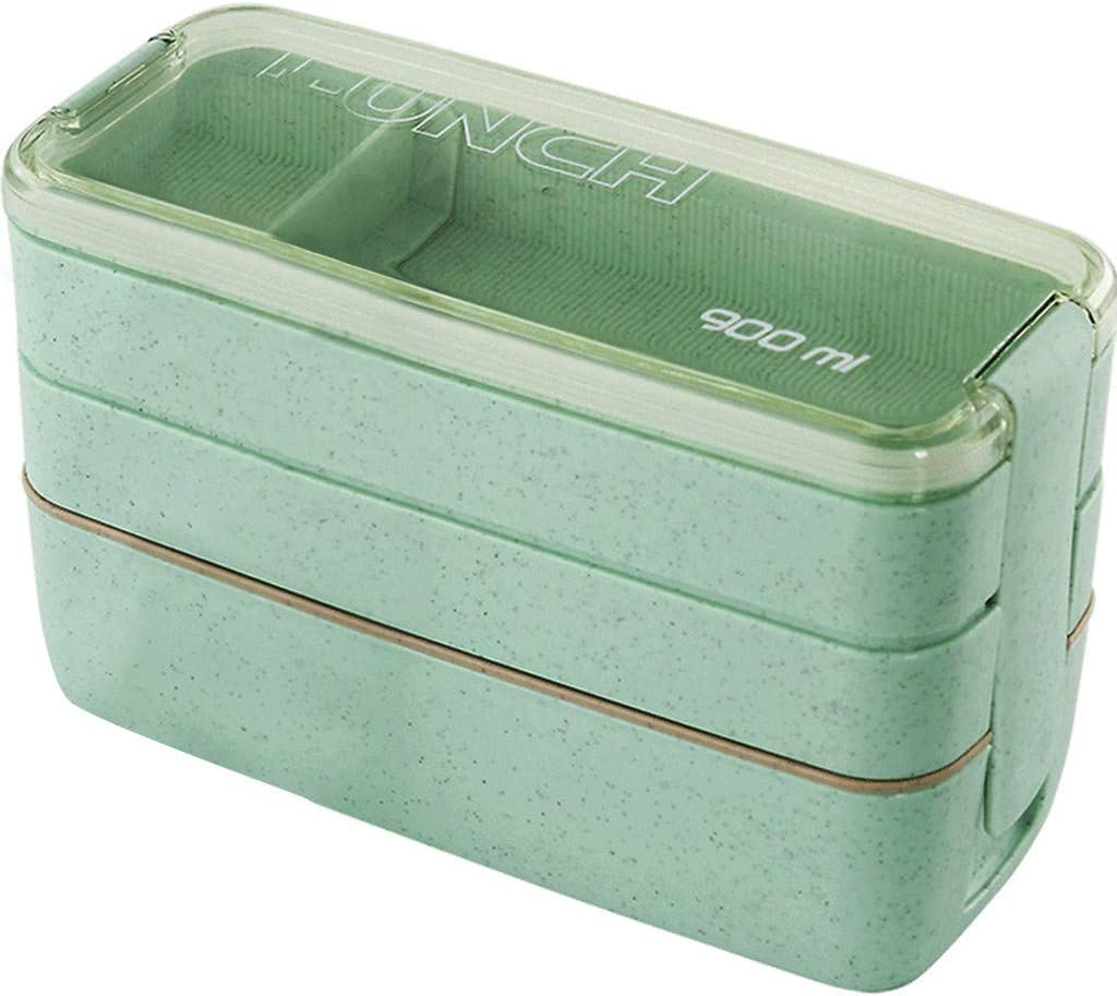 Double Heating Lunch Box Wheat Straw Bento Box Durable And Leak-