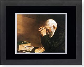 Daily Bread Man Praying at Table Grace Religious Wall Picture B/W Matted Framed Art Print