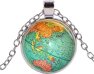 "Planet Necklace for Men, Retro Planet Earth World Map Art Pendant Necklace with 21.7"" Chain, Vintage Globe Totem Amulet Ne..."