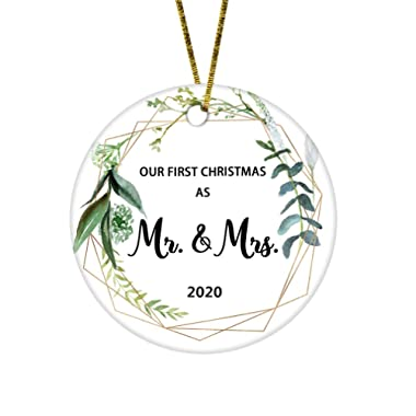 JUPPE Our First Christmas As Mr & Mrs Ornament Newlywed Decoration Romantic Couples Gift (White-3)