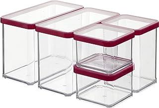 Rotho Loft Ensemble de 5 Boîtes de Rangement avec Couvercle de Différentes Tailles, Plastique (PP) sans BPA, Transparent /...