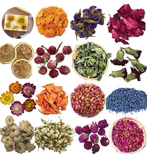 Flores Secas Flores Naturales 15 tipos Flor seca Kit para Suministros para Bombas de baño para hacer velas- Limón, Osmanthus, Jazmín, Rosa, Lavanda para hacer jabón (15 Bolsitas)