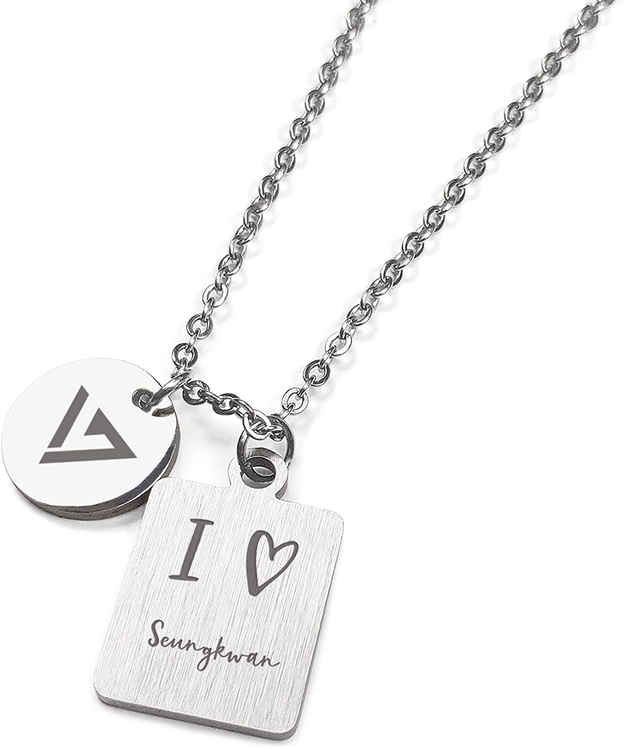 Fanstown kpop SEVENTEEN Necklace Dual Pendants Necklace Team Logo and LOVE Symbol to member name Necklace