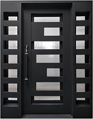 ALEKO IDQ6281BK06 Iron Square Top Geometric-Embossed Door with Frame and Threshold 62 x 81 Inches Matte Black