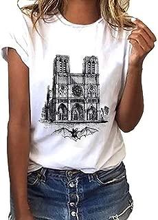 Willow S Hot Woman Tops Round Neck Short Sleeve Notre Dame de Paris Print Modal Cotton T-Shirt Comfortable Blouse