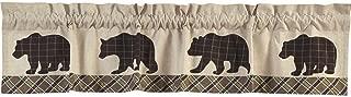 VHC Brands Rustic & Lodge Kitchen Window Curtains-Wyatt Tan Bear Valance, 16x72
