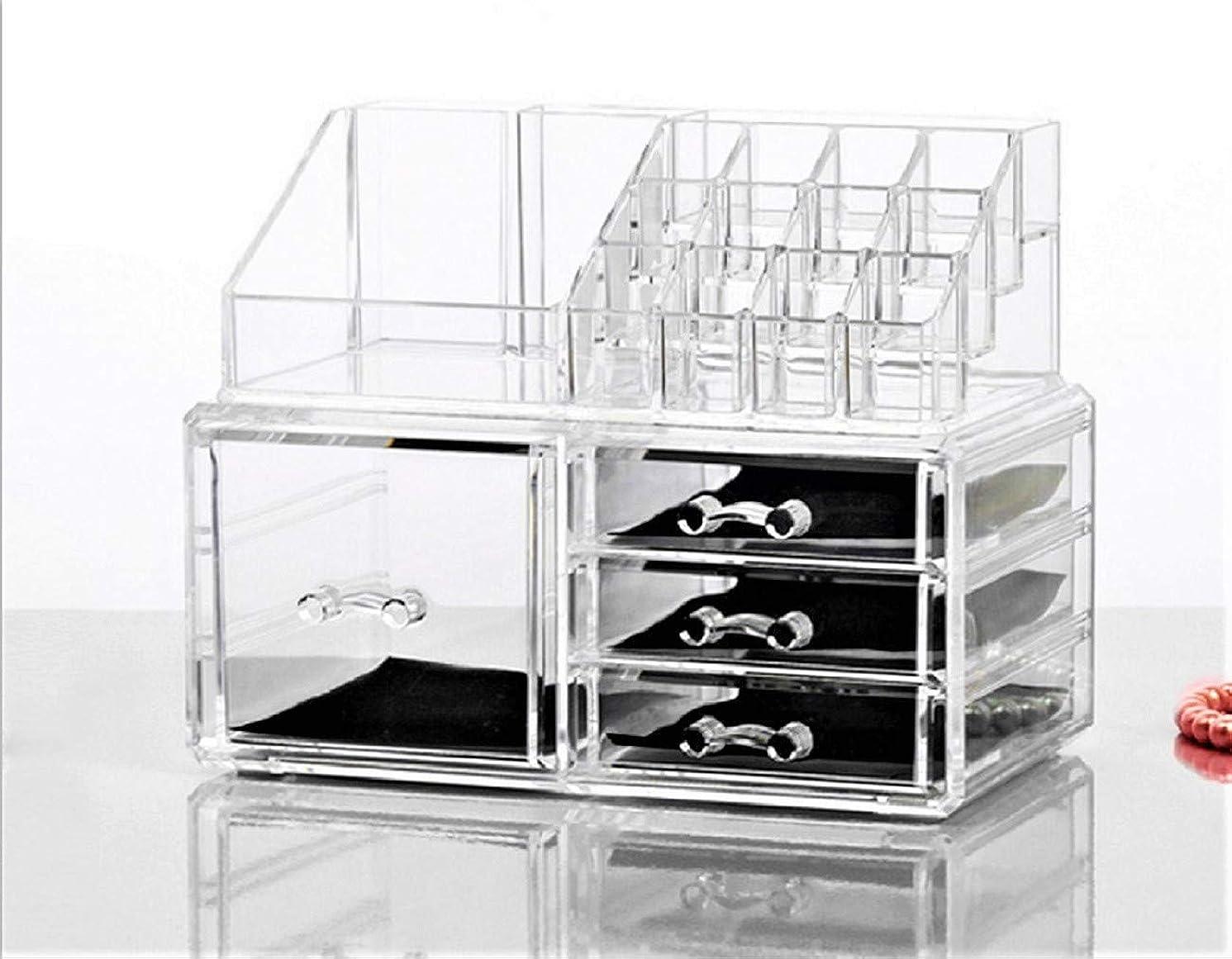 最適放棄足Neolly 化粧品収納ケース メイクケース コスメ収納ボックス 化粧品入れ 収納スタンド 引き出し小物 卓上収納 組合せ式 アクセサリー 防塵 アクリル製 5引き出し 透明