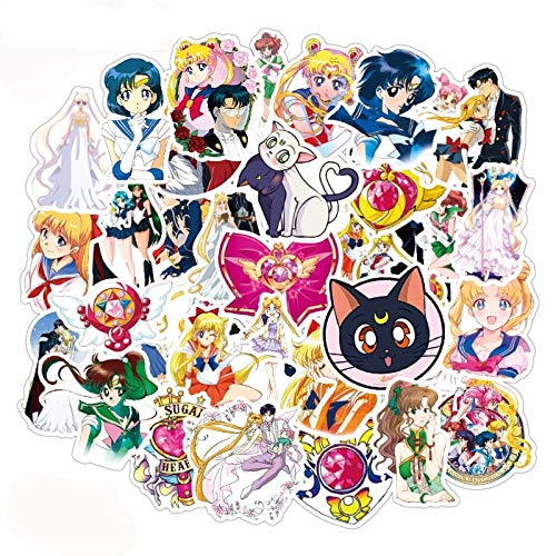 DUOYOU Pack Sailor Moon Japonés Anime Pegatinas Lable Para Frigorífico Coche Casco Diy Caja de Regalo Bicicleta Guitarra Notebook Etc 50pcs/