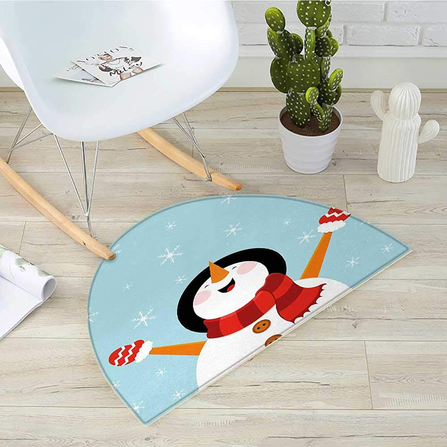Christmas Semicircular CushionHappy Smiling Snowman with Ornate Snowflakes Cheering Joyful Graphic Character Entry Door Mat H 35.4  xD 53.1  Multicolor