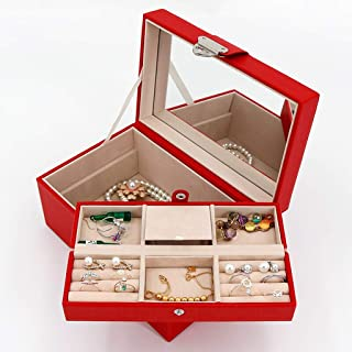 XX_C Jewellery Boxes & Organisers Jewelry Box Small Faux Leather Travel Jewellery Box Organizer Display Storage Case for Earrings Necklace with Mirror Lock (Color : Red)