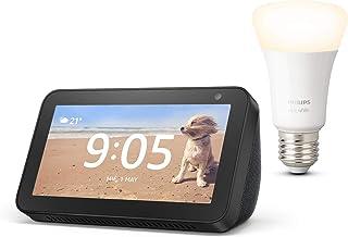 Echo Show 5, Negro + Philips Hue Bombilla Inteligente (E27), compatible con Alexa