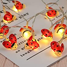 OSALADI Solar Ladybug Light 20 LED Fairy String Lights 5 M Waterproof Outside String Lights Holiday Ladybug Lamp String fo...