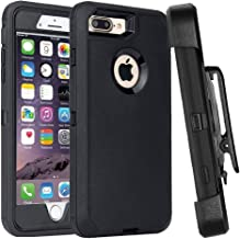 Casa Shockproof Case Compatible iPhone 7 Plus/8 Plus,Belt Clip Holster Heavy Duty Armor [Built-in Screen Protector][Support Wireless Charging][Dust-Proof] for Apple iPhone 8 Plus/7 Plus (Black)