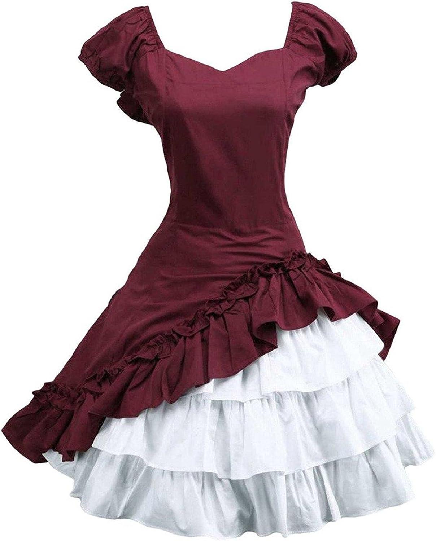 Ainclu Cotton Short Sleeves Ruffle Bow Classic Lolita Dress Red