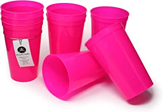 Rolling Sands 22 Ounce Reusable Plastic Stadium Cups Hot Pink, 8 Pack, Made in USA, BPA-Free Dishwasher Safe Plastic Tumblers