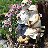 LXHJZ Suricate Statue Ornements Petit Tabouret en Bois Jardin Sculpture Animal Statue Couple Décor