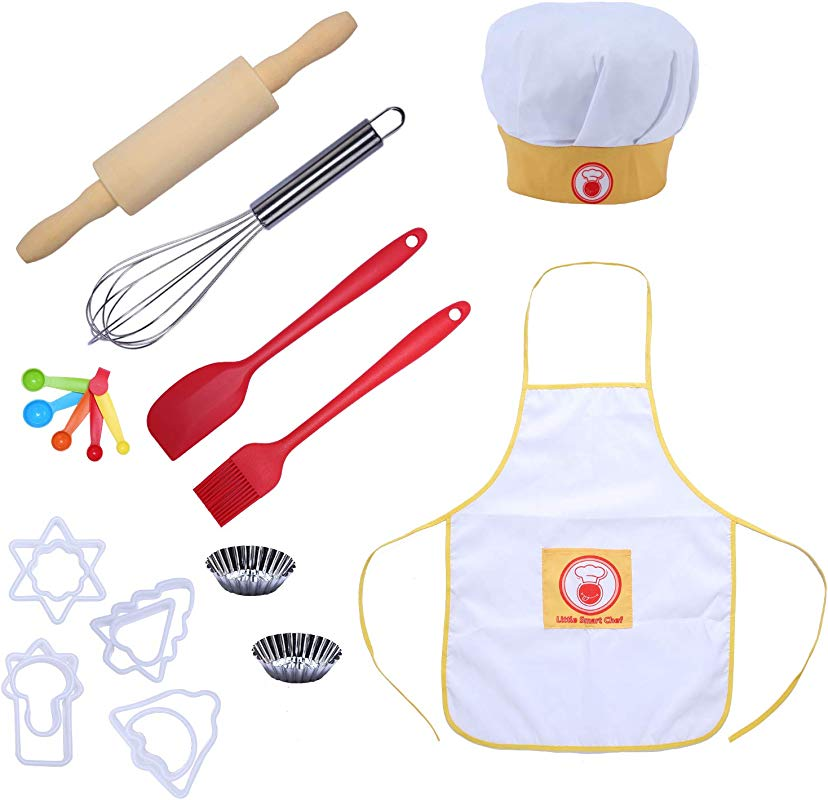 CHEERU Kids Baking And Cooking Set Real Baking Tools For Boys Girls 21Pcs Include Chef Apron And Hat Baking Utensil For Toddler Dress Up Role Play