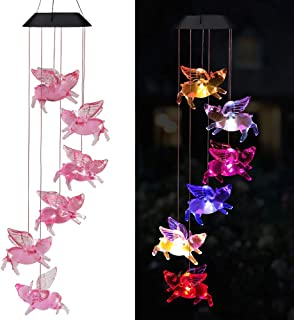 xxschy LED Fly Pigs Solar Wind Chimes Outdoor - Waterproof Solar Powered LED Changing Light Color 6 Flying Pigs Mobile Rom...