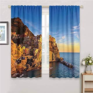 zojihouse Scenery House Decor Italian Mediterranean Village on Cliffs in Five Lands Seascape Panorama Thermal Insulated Drapes Blue Cream Blackout Curtains for Bedroom W72xL63