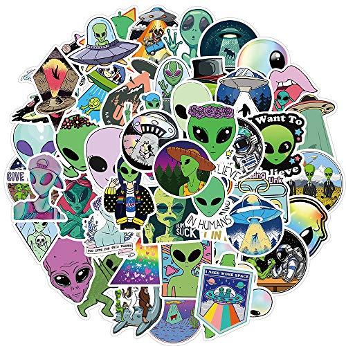 LANYU Pegatina alienígena Espacio cósmico Criatura Astronauta Dibujos Animados Pegatinas para Nevera monopatín Bicicleta Motocicleta Coche 50 Uds