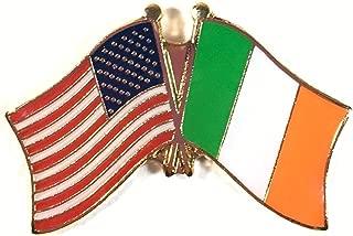 Pack of 3 Ireland & US Crossed Double Flag Lapel Pins, Irish & American Friendship Pin Badge