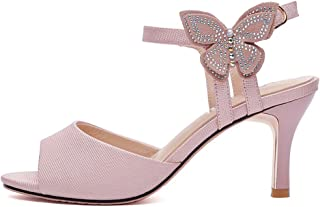 YNXZ-SHOE High Heels Sandals, Ms Small Fresh Fish Mouth Design, Creative Leisure Cozy Hasp Rubber Sole, Non-Slip/Breathable, White Pink, 34-40 Yards (Color : Pink, Size : 36)
