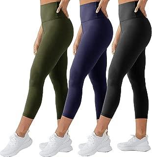 TNNZEET High Waisted Tummy Control Soft Plus Size & One Size Capri Leggings Elastic Opaque Slim