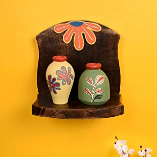 Aakriti Art Creations Wall Décor Shelf with 2 Warli Painted Multicolor Terracotta Pots