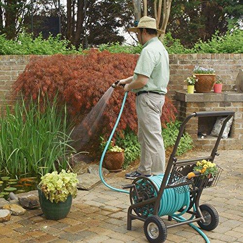 Liberty GARDEN 301 Never Flat 2-Wheel Decorative Garden Hose Reel Cart, Holds-200-Feet of 5/8-Inch Hose - Bronze
