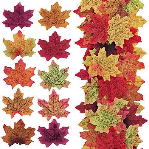 Hojas de arce otoñales artificiales Hojas de colores mixtos de otoño para...