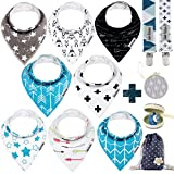 Dodo Babies Baby Bandana Drool Bib Set - 8pc Infant Bibs with 2 Pacifier Clips, Binky Case, Gift-Ready Bag - Soft Absorbent Cotton with Polyester Back - Adjustable Buttons to Fit 3-24 -Month Old Boys