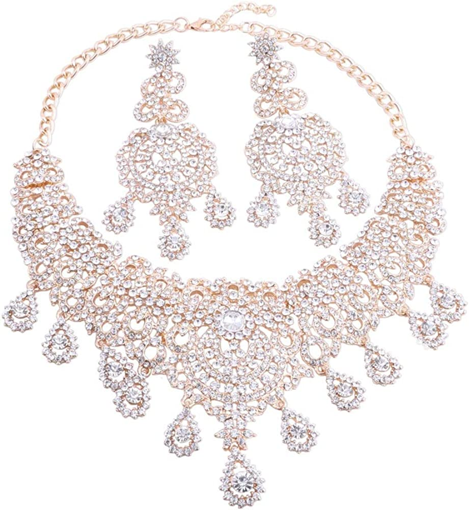 African Statement Jewellery Sets Crystal Necklace Earrings Set for Women Bridal Party Gift Prom Accessories