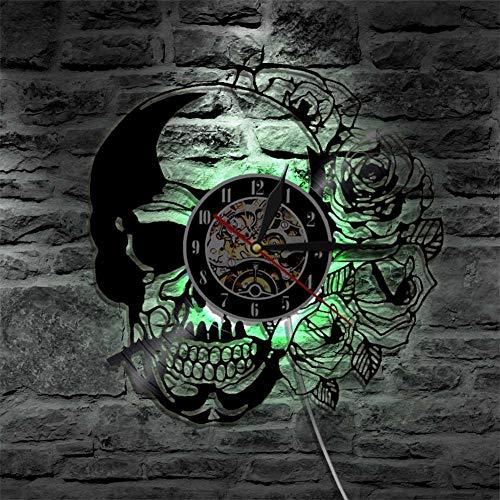 OOFAY Clock@ Wanduhr Vinyl Schallplattenuhr 3D Design-Uhr Wand-Deko Familien Kreativität LED Persönlichkeit Schädel Rose Wohnzimmer Schlafzimmer Dekoration/30CM Schwarz