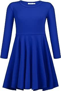 Girls Short Sleeve Dress A line Twirly Skater Casual Dress 2-12 Years