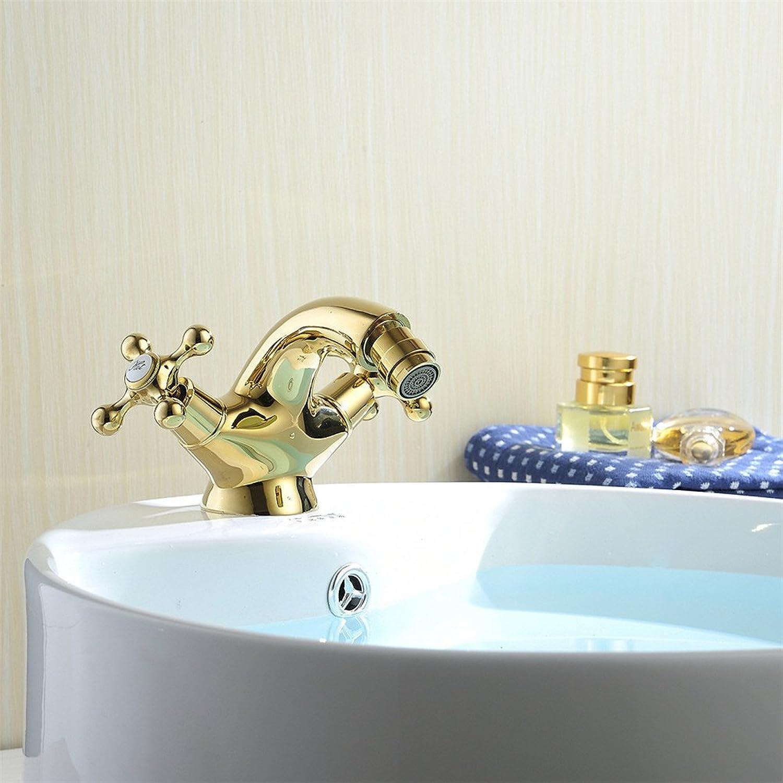 AOEIY Wasserhahn Küchen Mischbatterie Vollkupfer verchromt Gold Doppelgriff Einlochmontage Waschtischarmaturen Mixer Spültisch Armatur Bad Spülbecken Spültischbatterie badezimmer Küchenarmatur