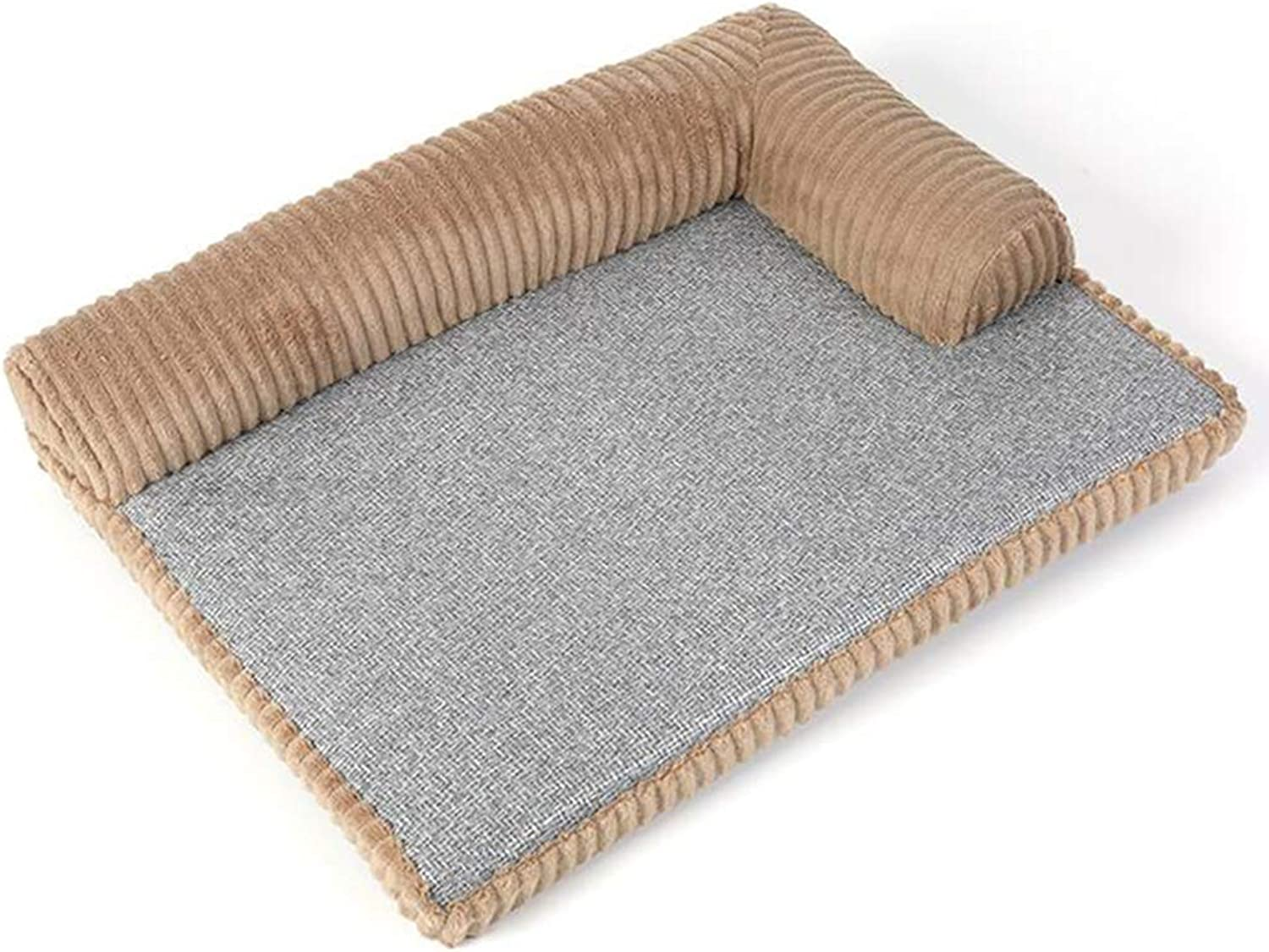 CUUYQ Deluxe pet beds, Cozy Dog & cat beds Soft pad Pet Bed Washable Pet Cushion Nonslip for Dogs & Cats,Brown_S