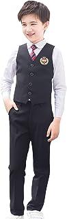 Cloudkids 子供 フォーマル スーツ キッズ 男の子 女の子 スクール制服 5点セット ベスト シャツ ネクタイ バッジ ズボン スカート 入学 卒業式 結婚式