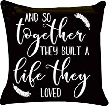 KACOPOL Inspirational Quote Throw Pillow Covers Super Soft Short Plush Farmhouse Home Decor Pillow Case Cushion Cover with Words for Sofa Square 18x18 Inches (And So together They Built A Life They L)
