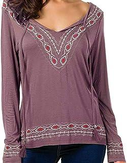 kolila Womens Blouse Casual Boho Floral Print V Neck Drawstring Long Sleeve Tops Embroidered T-Shirts Tunics Pullovers