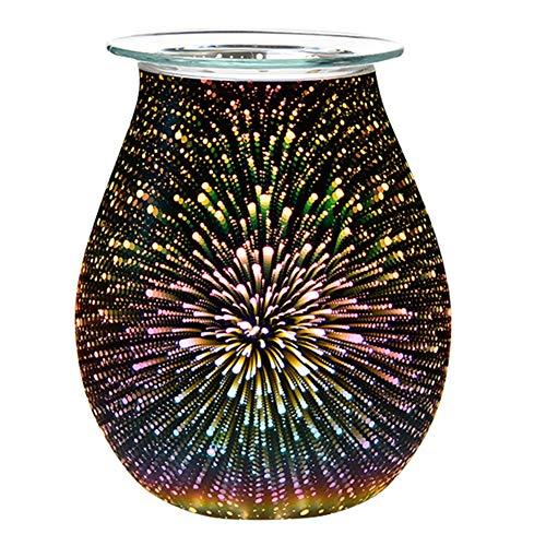 JANNIDE 40 W 3D Glas Elektrischer Wachsschmelzwärmer Kerzenwärmer Wachsbrenner Duftkerze Nachtlicht Aroma Dekolampe für Zuhause, Büro, Schlafzimmer, Wohnzimmer 3D-Feuerwerk