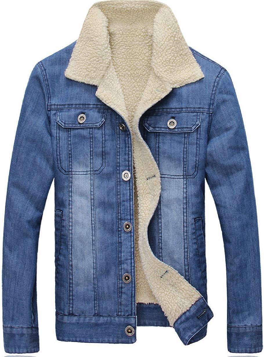 CHARTOU Men's Regular Fit Lapel Collar Fleece-Lined Washed Denim Jacket