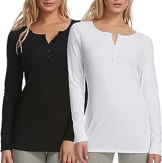 Felina Women's Cotton Modal Henley T-Shirt (Pack of 2)
