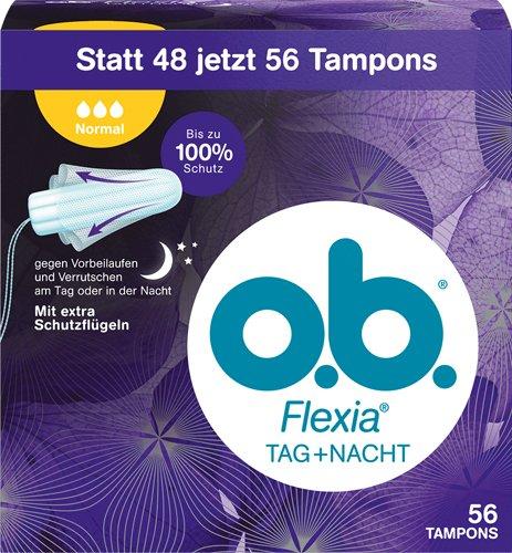 o.b. 6X Flexia Tag+Nacht Normal Tampons, mit Extra Schutzflügeln